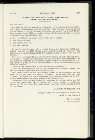 Raadsnotulen Heemstede 1962-02-22