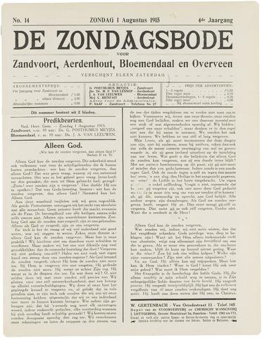 De Zondagsbode voor Zandvoort en Aerdenhout 1915-08-01