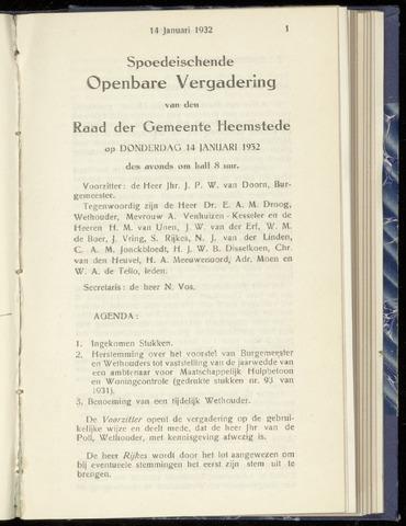 Raadsnotulen Heemstede 1932-01-14