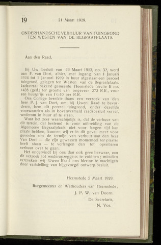 Raadsnotulen Heemstede 1929-03-21