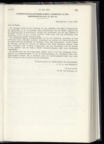 Raadsnotulen Heemstede 1967-07-27