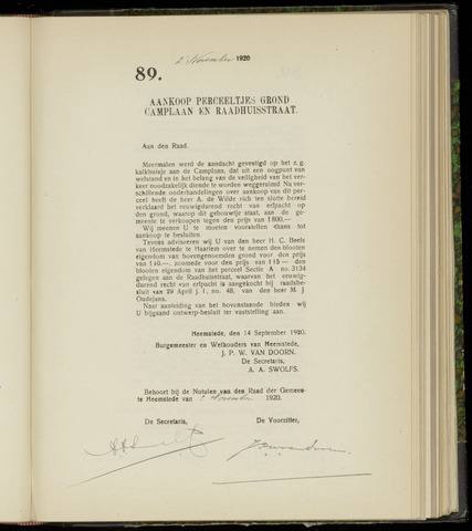 Raadsnotulen Heemstede 1920-11-02