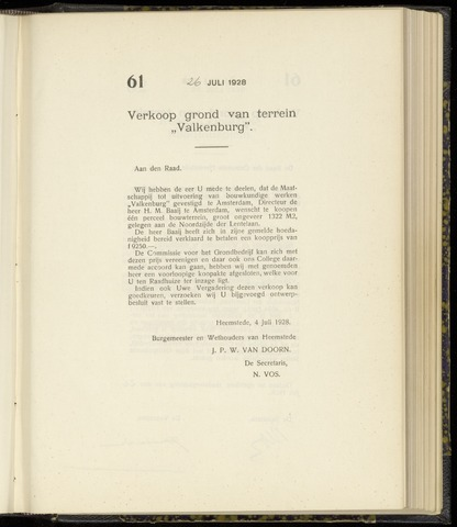 Raadsnotulen Heemstede 1928-07-26
