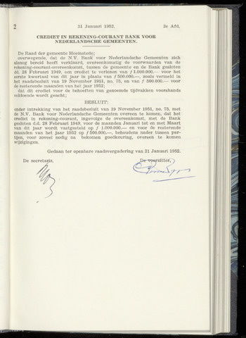 Raadsnotulen Heemstede 1952-01-31
