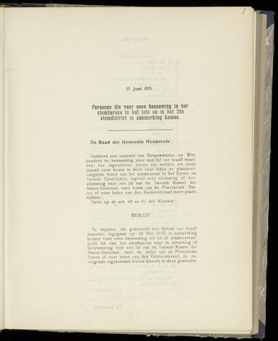 Raadsnotulen Heemstede 1915-06-10