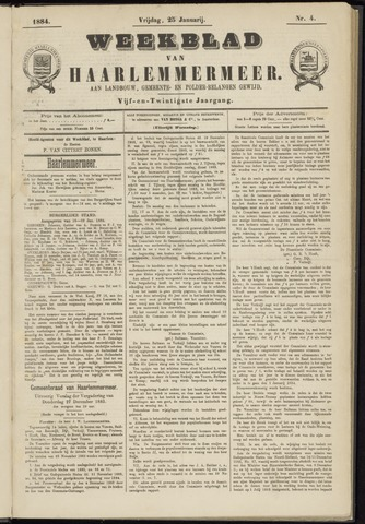 Weekblad van Haarlemmermeer 1884-01-25