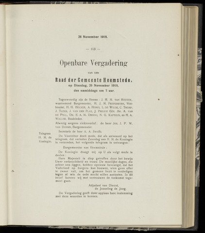 Raadsnotulen Heemstede 1918-11-26