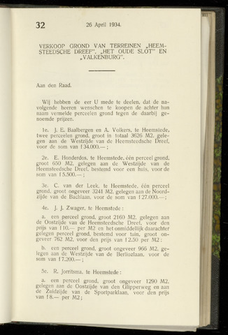 Raadsnotulen Heemstede 1934-04-26