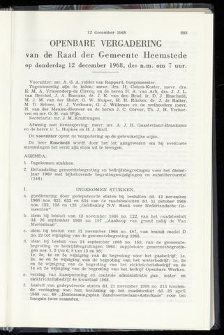 Raadsnotulen Heemstede 1968-12-12