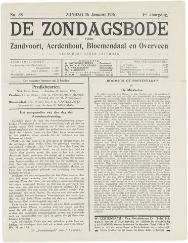 De Zondagsbode voor Zandvoort en Aerdenhout 1916-01-16