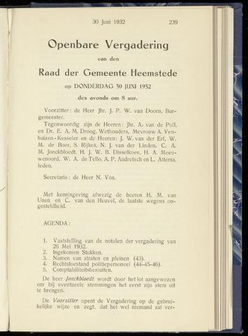 Raadsnotulen Heemstede 1932-06-30