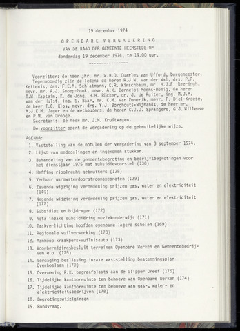 Raadsnotulen Heemstede 1974-12-19