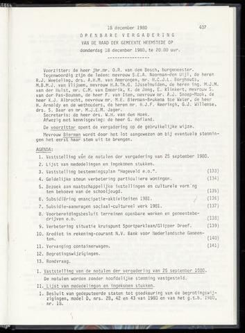 Raadsnotulen Heemstede 1980-12-18