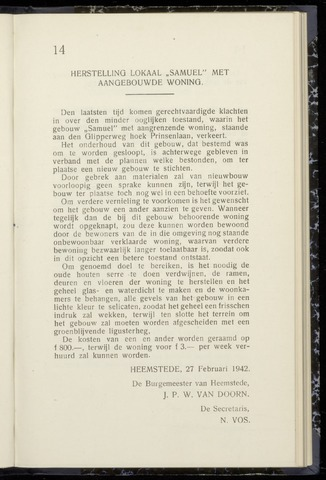 Raadsnotulen Heemstede 1942-02-27