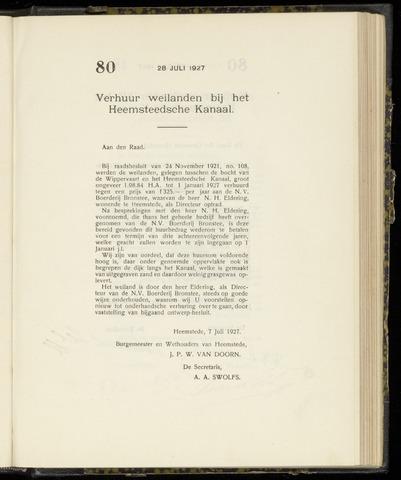 Raadsnotulen Heemstede 1927-07-28