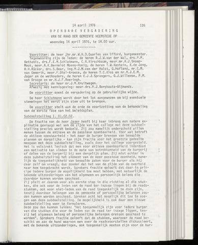Raadsnotulen Heemstede 1976-04-14