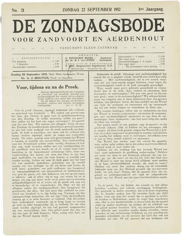 De Zondagsbode voor Zandvoort en Aerdenhout 1912-09-22