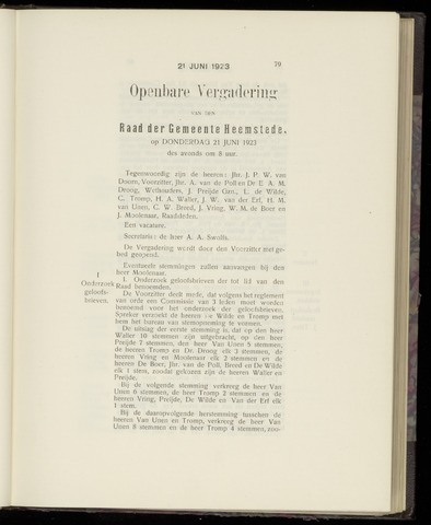 Raadsnotulen Heemstede 1923-06-21