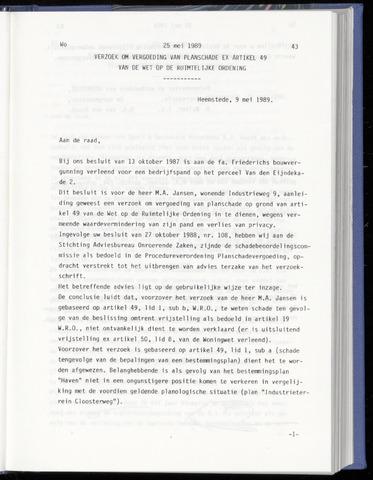 Raadsnotulen Heemstede 1989-05-25