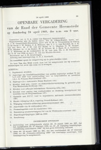 Raadsnotulen Heemstede 1969-04-24