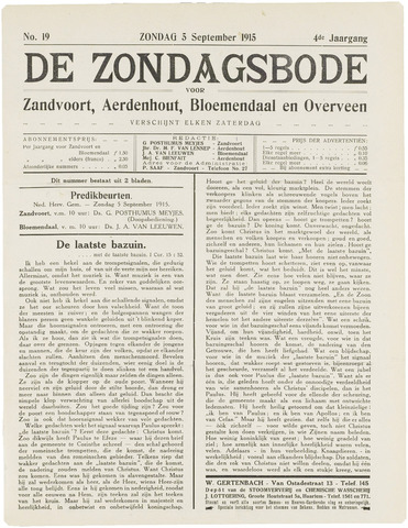 De Zondagsbode voor Zandvoort en Aerdenhout 1915-09-05