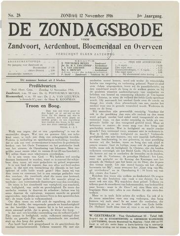 De Zondagsbode voor Zandvoort en Aerdenhout 1916-11-12