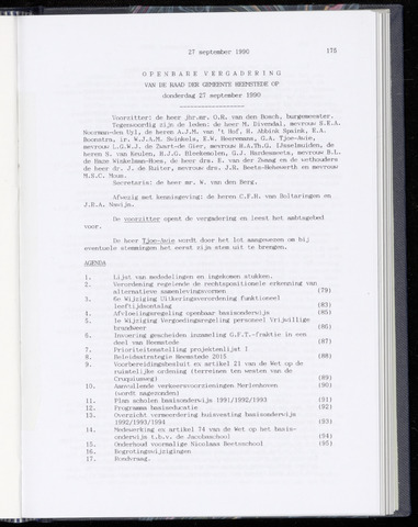 Raadsnotulen Heemstede 1990-09-27