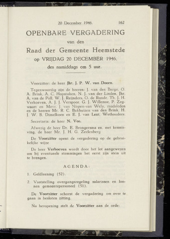 Raadsnotulen Heemstede 1946-12-20