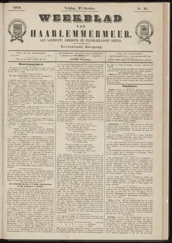 Weekblad van Haarlemmermeer 1876-10-27