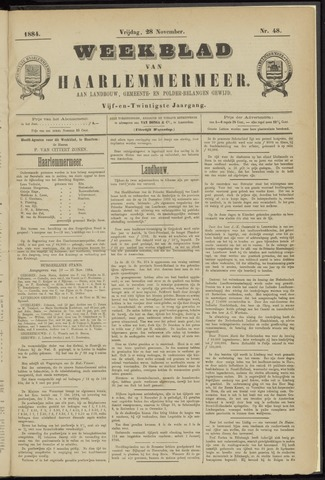 Weekblad van Haarlemmermeer 1884-11-28