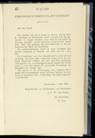 Raadsnotulen Heemstede 1932-07-28