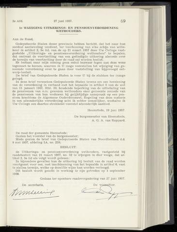 Raadsnotulen Heemstede 1957-06-27