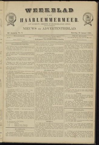 Weekblad van Haarlemmermeer 1885-01-10