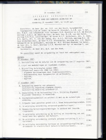 Raadsnotulen Heemstede 1987-11-26