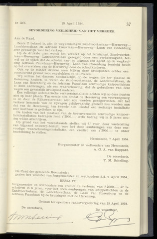 Raadsnotulen Heemstede 1954-04-29