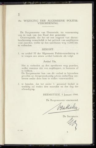 Raadsnotulen Heemstede 1944-01-05