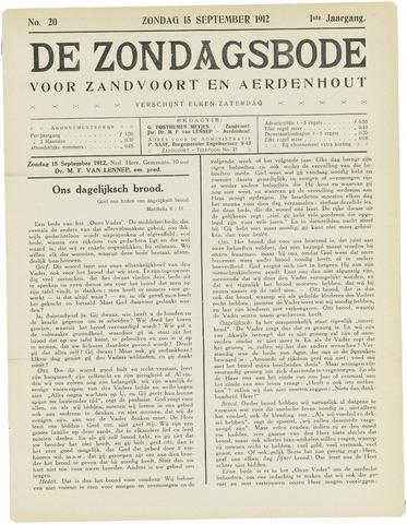 De Zondagsbode voor Zandvoort en Aerdenhout 1912-09-15