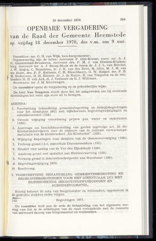 Raadsnotulen Heemstede 1970-12-18
