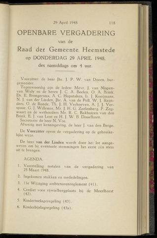 Raadsnotulen Heemstede 1948-04-29