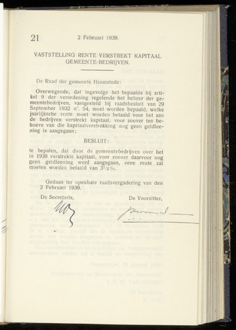 Raadsnotulen Heemstede 1939-02-02