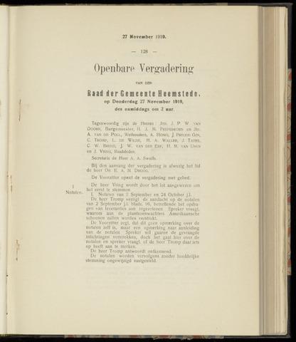 Raadsnotulen Heemstede 1919-11-27