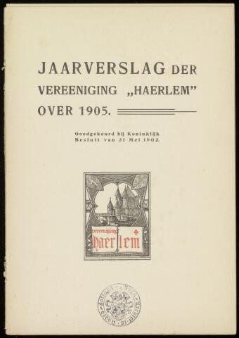 Jaarverslagen en Jaarboeken Vereniging Haerlem 1905