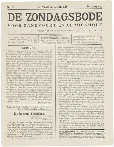 De Zondagsbode voor Zandvoort en Aerdenhout 1915-04-25