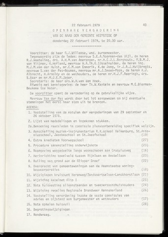 Raadsnotulen Heemstede 1979-02-22