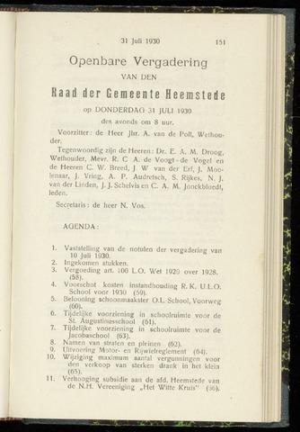 Raadsnotulen Heemstede 1930-07-31