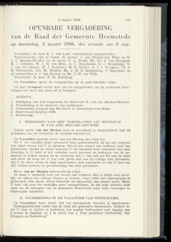Raadsnotulen Heemstede 1956-03-05