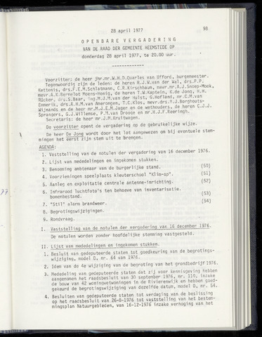 Raadsnotulen Heemstede 1977-04-28