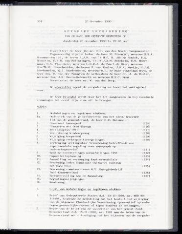Raadsnotulen Heemstede 1990-12-20