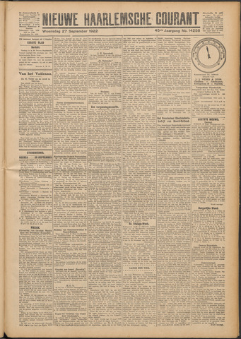 Nieuwe Haarlemsche Courant 1922-09-27