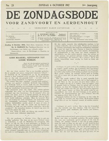 De Zondagsbode voor Zandvoort en Aerdenhout 1912-10-06
